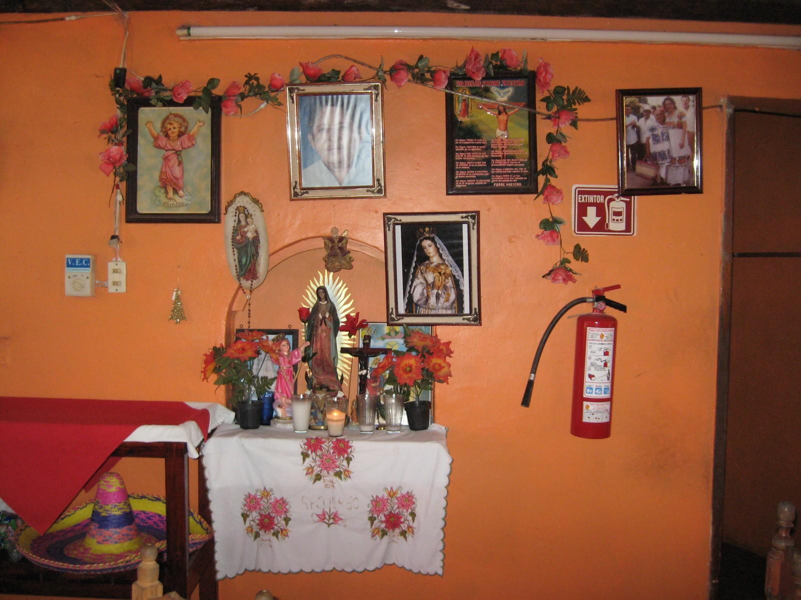 Altar in Restaurant Outside Uxmal